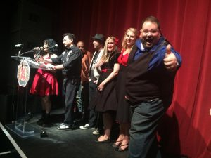 """Rio and the Rockabilly Revival accepting the 2016 Detroit Music Award for """"Tesitfy"""""""